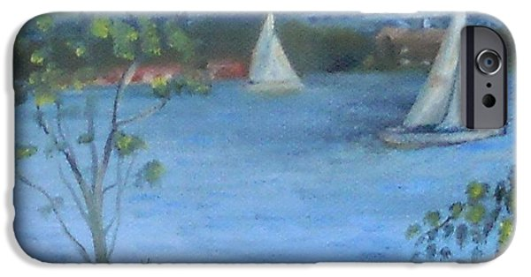 Sailboats iPhone Cases - Sailing the Delaware iPhone Case by Marlene Book