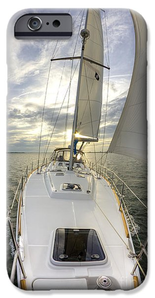 Sailing iPhone Cases - Sailing Yacht Fate Beneteau 49 iPhone Case by Dustin K Ryan