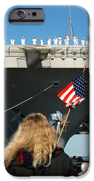 Sailors Aboard Aircraft Carrier Uss iPhone Case by Stocktrek Images