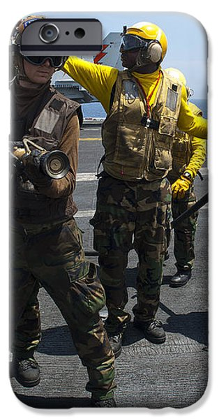 Sailors Fight A Simulated Fire Drill iPhone Case by Stocktrek Images