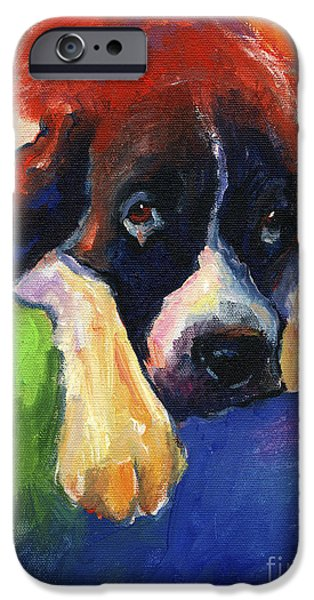 Puppies Drawings iPhone Cases - Saint Bernard Dog colorful portrait painting print iPhone Case by Svetlana Novikova