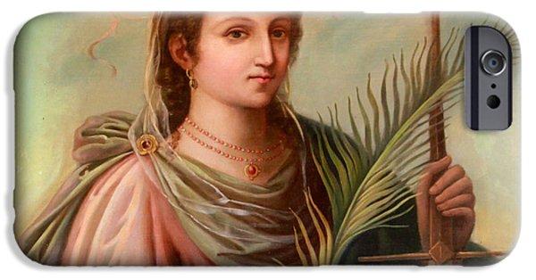 Saint Catherine iPhone Cases - Saint Catherine of Alexandria Painting iPhone Case by Munir Alawi
