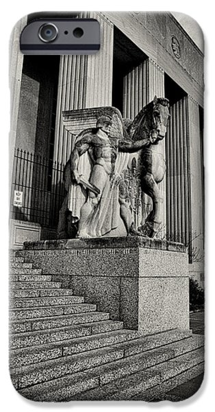 Saint Louis Soldiers Memorial Exterior Black and White iPhone Case by Joshua House
