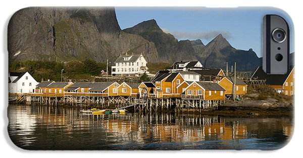 Norway iPhone Cases - Sakrisoy Fishermens Village iPhone Case by Heiko Koehrer-Wagner