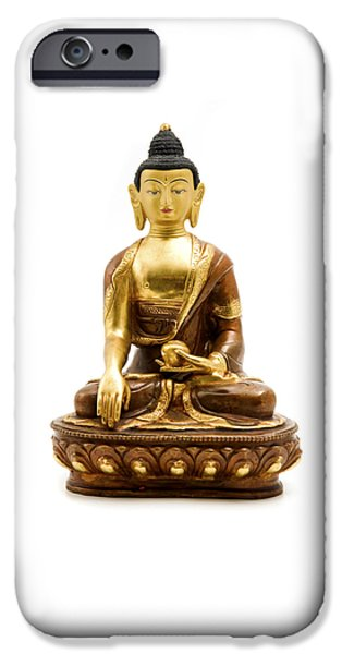 Cut-outs iPhone Cases - Sakyamuni Buddha iPhone Case by Fabrizio Troiani