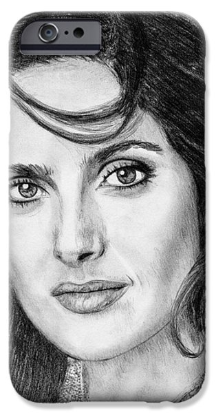 Celebrities Art iPhone Cases - Salma Hayek in 2005 iPhone Case by J McCombie