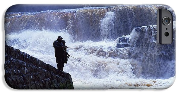 Anticipation Photographs iPhone Cases - Salmon Fishing, Ballisodare River, Co iPhone Case by The Irish Image Collection