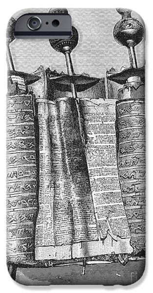 Ancient Scroll iPhone Cases - Samaritan Pentateuch iPhone Case by Granger