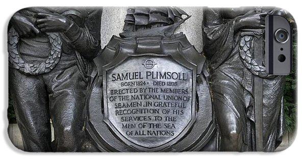 Statue Portrait iPhone Cases - Samuel Plimsoll Commemorative Plaque iPhone Case by Sheila Terry