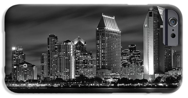 San Diego iPhone Cases - San Diego Skyline at Night  Black and White iPhone Case by Larry Marshall