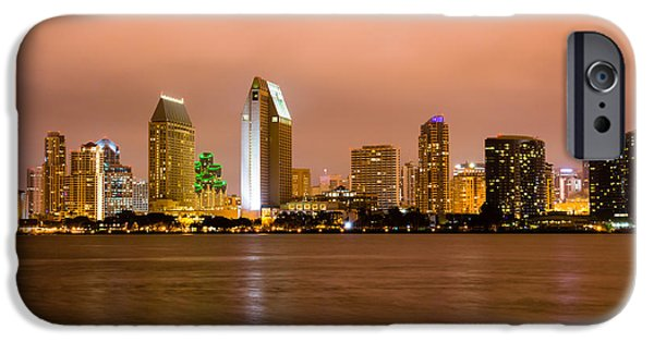 Business iPhone Cases - San Diego Skyline at Night iPhone Case by Paul Velgos