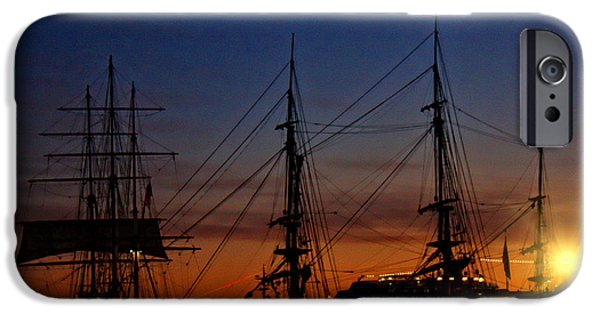 Tall Ship iPhone Cases - San Diego Sunset over the Tall Ships iPhone Case by Tommy Anderson