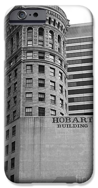 Hobart iPhone Cases - San Francisco - Hobart Building on Market Street - 5D17870 - black and white iPhone Case by Wingsdomain Art and Photography