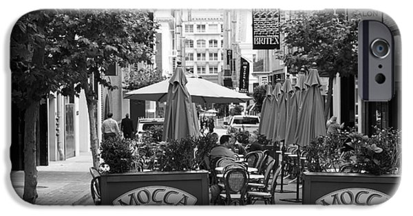 Union Square iPhone Cases - San Francisco - Maiden Lane - Outdoor Lunch at Mocca Cafe - 5D17932 - black and white iPhone Case by Wingsdomain Art and Photography