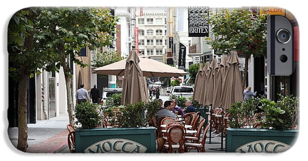 Union Square iPhone Cases - San Francisco - Maiden Lane - Outdoor Lunch at Mocca Cafe - 5D17932 iPhone Case by Wingsdomain Art and Photography