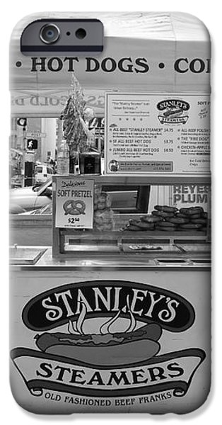 San Francisco - Stanley's Steamers Hot Dog Stand - 5D17929 - black and white iPhone Case by Wingsdomain Art and Photography