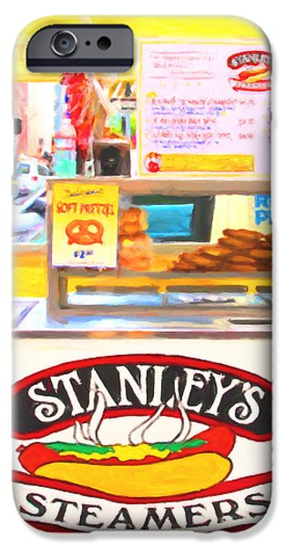 San Francisco - Stanley's Steamers Hot Dog Stand - 5D17929 - Square - Painterly iPhone Case by Wingsdomain Art and Photography