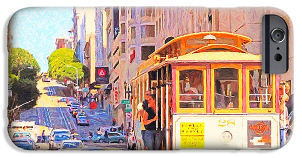Sf iPhone Cases - San Francisco Cablecar Coming Down Powell Street iPhone Case by Wingsdomain Art and Photography