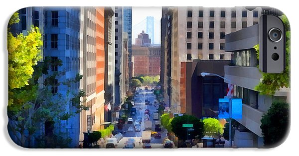 Bay Bridge Digital iPhone Cases - San Francisco California Street  . 7D7186 iPhone Case by Wingsdomain Art and Photography
