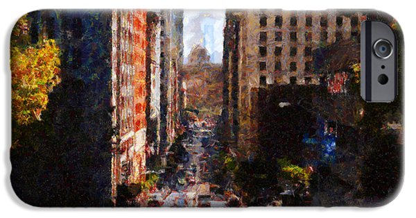 Bay Bridge Digital iPhone Cases - San Francisco California Street  . Painterly . 7D7186 iPhone Case by Wingsdomain Art and Photography