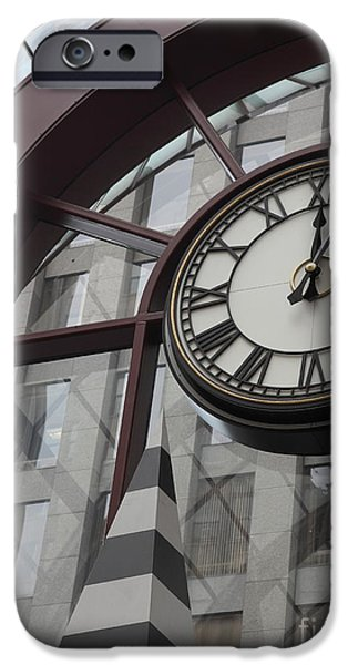 Clock Shop iPhone Cases - San Francisco Crocker Galleria - 5D17908 iPhone Case by Wingsdomain Art and Photography