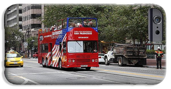 Tour Bus San Francisco iPhone Cases - San Francisco Double Decker Tour Bus on Market Street - 5D17851 iPhone Case by Wingsdomain Art and Photography