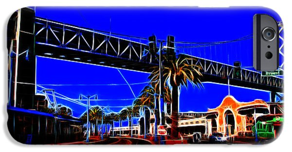 Bay Bridge Digital iPhone Cases - San Francisco Embarcadero And The Bay Bridge Electrified iPhone Case by Wingsdomain Art and Photography