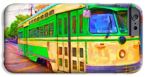 Sf iPhone Cases - San Francisco F-Line Trolley iPhone Case by Wingsdomain Art and Photography