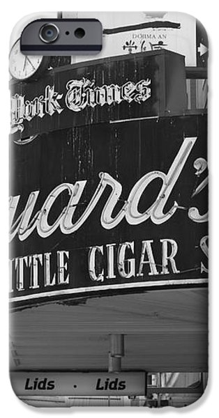San Francisco Marquard's Little Cigar Store Powell and O'Farrell Streets - 5D17954 - black and white iPhone Case by Wingsdomain Art and Photography