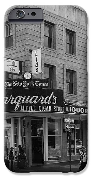 San Francisco Marquards Little Cigar Store Powell Street - 5D17950 - black and white iPhone Case by Wingsdomain Art and Photography