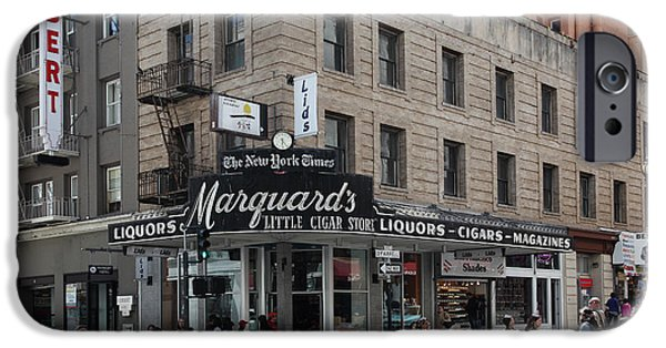 Crosswalk Photographs iPhone Cases - San Francisco Marquards Little Cigar Store Powell Street - 5D17950 iPhone Case by Wingsdomain Art and Photography