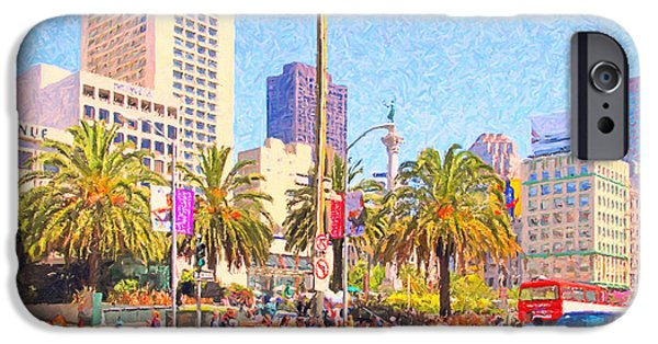 Union Square iPhone Cases - San Francisco Union Square iPhone Case by Wingsdomain Art and Photography