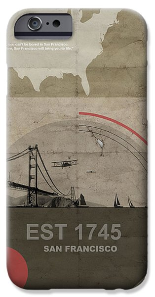 Sail Boat iPhone Cases - San Fransisco iPhone Case by Naxart Studio