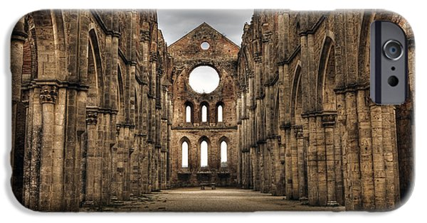 Ruin iPhone Cases - San Galgano  - a ruin of an old monastery with no roof iPhone Case by Joana Kruse