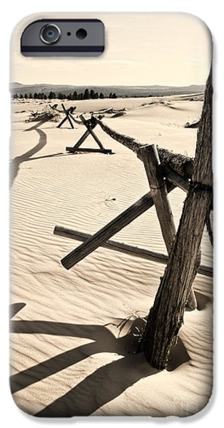 Old Fence Posts iPhone Cases - Sand and Fences iPhone Case by Heather Applegate