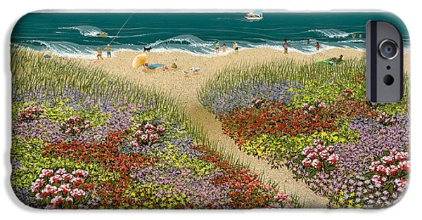 Seagull Paintings iPhone Cases - Sand Path iPhone Case by Katherine Young-Beck