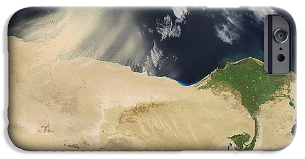 21st Century iPhone Cases - Sandstorm, Satellite Image iPhone Case by NASA / Science Source