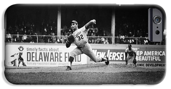 Shibe Park iPhone Cases - Sandy Koufax (1935- ) iPhone Case by Granger