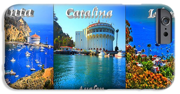 Wrigley iPhone Cases - Santa Catalina Island Triptych iPhone Case by Cheryl Young