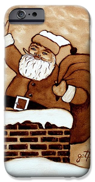 Santa Claus Gifts original coffee painting iPhone Case by Georgeta  Blanaru
