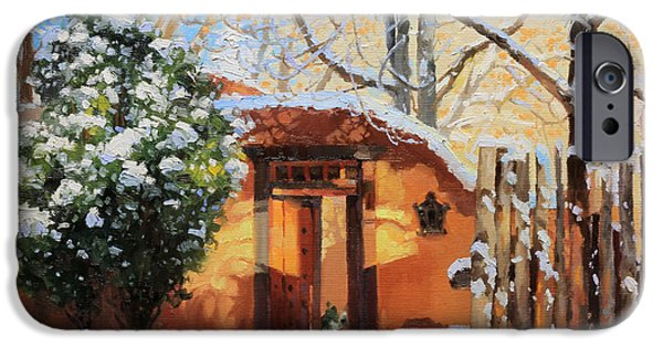 Rooftop iPhone Cases - Santa Fe adobe in winter snow iPhone Case by Gary Kim