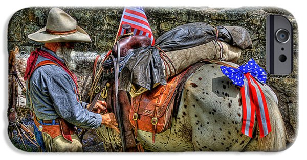 Old Glory iPhone Cases - Santa Fe Cowboy iPhone Case by David Patterson