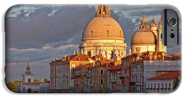 Venetian Canals iPhone Cases - Santa Maria della Salute iPhone Case by Heiko Koehrer-Wagner