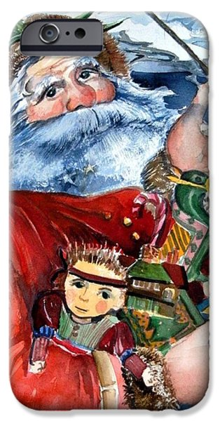 Pines Drawings iPhone Cases - Santa iPhone Case by Mindy Newman