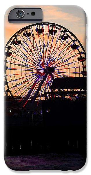 Santa Monica Pier Ferris Wheel Sunset iPhone Case by Paul Velgos