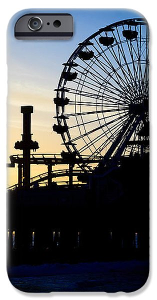 Santa Monica Pier Ferris Wheel Sunset Southern California iPhone Case by Paul Velgos