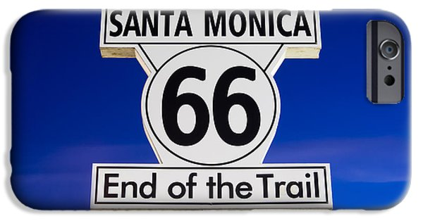 California iPhone Cases - Santa Monica Route 66 Sign iPhone Case by Paul Velgos