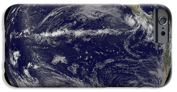 Terrestrial Sphere iPhone Cases - Satellite Image Of Earth Centered iPhone Case by Stocktrek Images