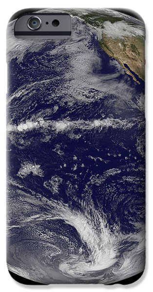 Satellite Image Of Earth Centered iPhone Case by Stocktrek Images