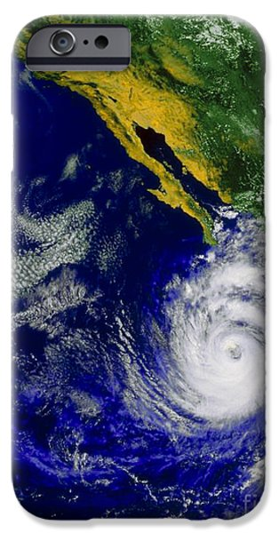 Baja iPhone Cases - Satellite Image Of Hurricane Nora iPhone Case by NASA / Science Source